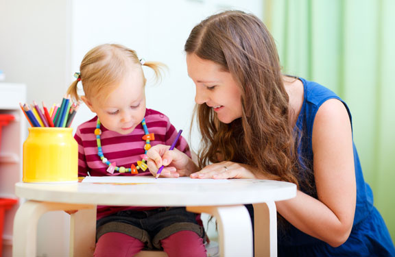 Mother and Little Girl Coloring